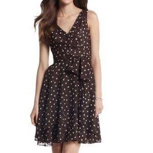WHBM Brown & White Polka Dot Sleeveless Dress
